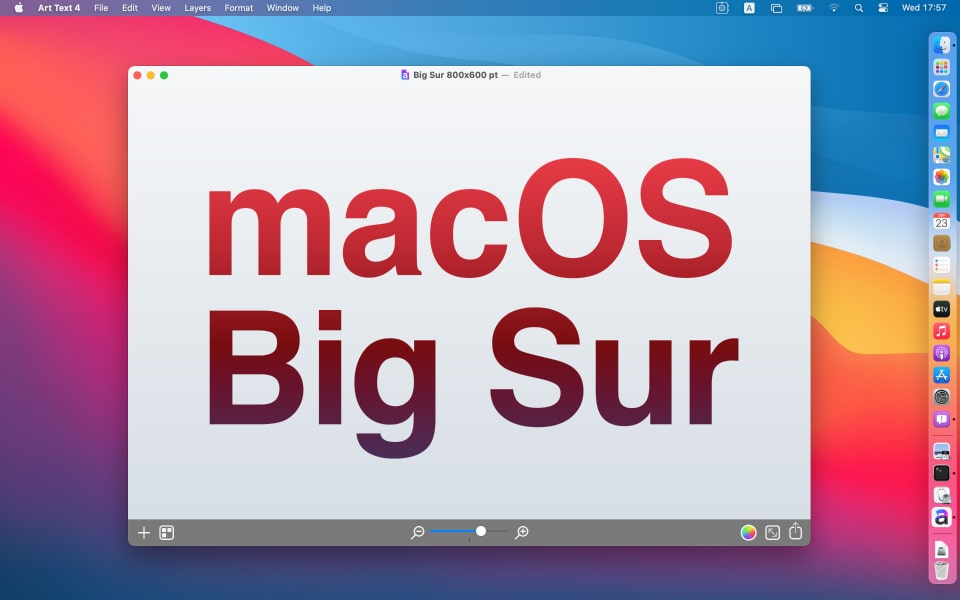 macOS Big Sur with Art Text app launched