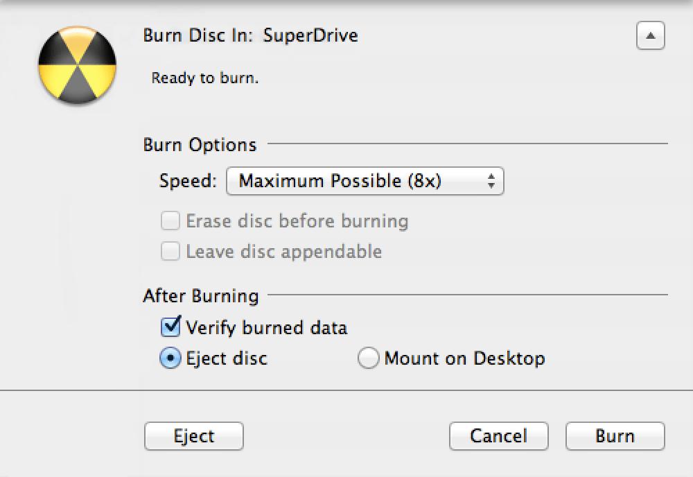 Burning Backups on CD, DVD or Blu-ray